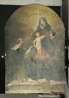 картина до реставрации «Явление Мадонны Святому Доменику»