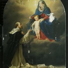 Картина в процессе реставрации «Явление Мадонны Святому Доменику»