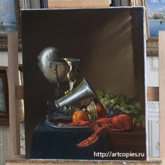 Копия картины «Натюрморт с наутилусом и омаром» Ян Давидс де Хем