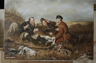 """Копия картины """"Охотники на привале"""" Перов В.Г."""