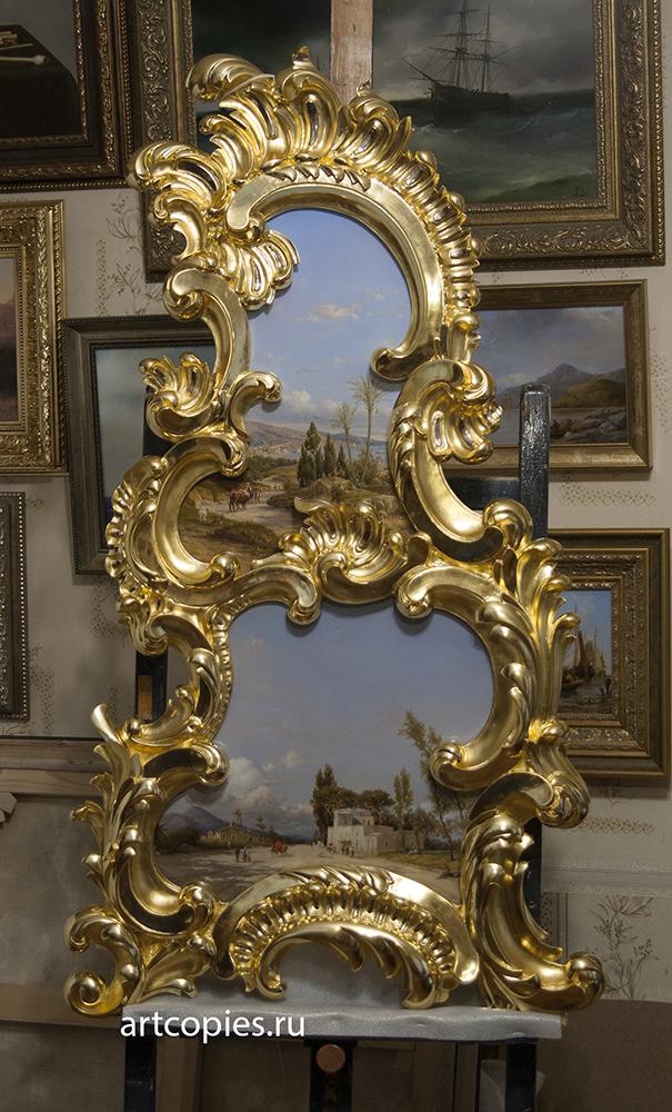 """Эксклюзивная копия картины """"The Bay of Naples"""" Léon Fleury, в раме ручного изготовления."""