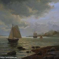 """""""Морской пейзаж с лодкой"""""""