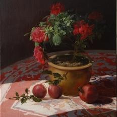 натюрморт с цветком и гранатами