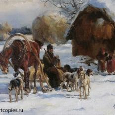 """""""Зимний пейзаж. приготовление к охоте"""""""