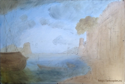"""1-этап копии картины К.Лорен """"Утро в гавани"""""""