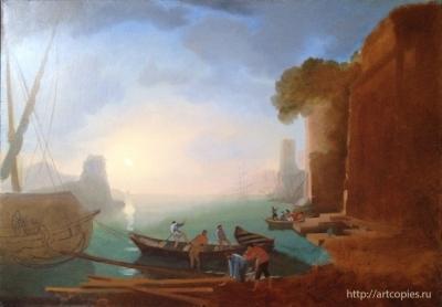 """3-этап копии картины К.Лорен """"Утро в гавани"""""""