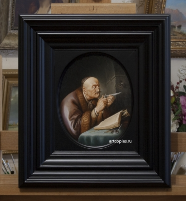 Копия картины «Ученый, затачивающий перо» Gerrit Dou