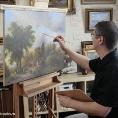 """Копирование картины """"Лесной пейзаж"""", К. Коеккука."""