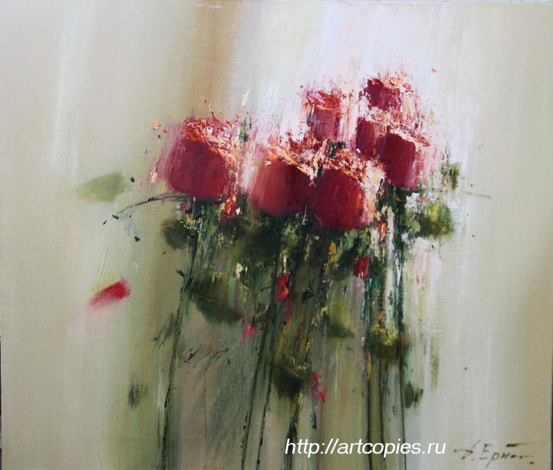 """Ермолов Д.Н. """"Красные розы"""" живопись маслом картины современных художников"""