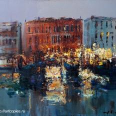 """Ермолов Д.Н. """"Венеция. Городской пейзаж. Вид на дома"""". Холст. масло 70х80 см Купить картину на холсте"""