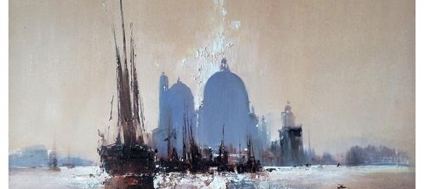 """Ермолов Д.Н. """"Венеция. Городской пейзаж. Вид на дома"""". Холст. масло 85х110 см Купить картину на холсте"""