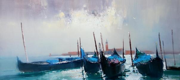 Ермолов Д.Н. Городской пейзаж. Гондолы Венеции Холст. масло 90х160 см Купить картину маслом