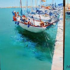"""Ермолов Д.Н. """"Яхты в Родосе"""". Триптих .Холст. масло. Картины современных художников купить."""