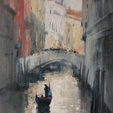 """Ермолов Д.Н. """"Венеция. Городской пейзаж. Сцены, канал"""". Холст. масло 80х60 см Купить картину маслом на холсте."""