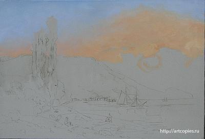 2 -этап копии картины И.К.Айвазовского «Восход над Ялтой»
