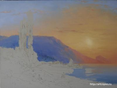 3 -этап копии картины И.К.Айвазовского «Восход над Ялтой»
