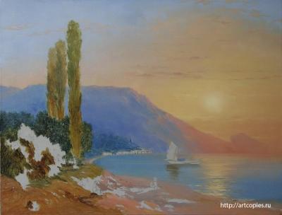 4-этап копии картины И.К.Айвазовского «Восход над Ялтой»