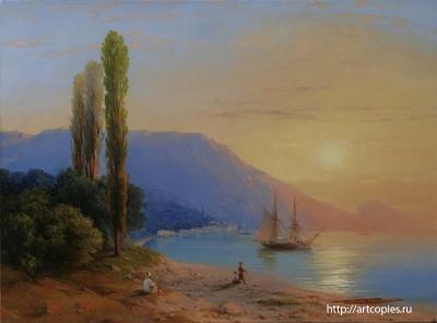 5-этап копии картины И.К.Айвазовского «Восход над Ялтой»