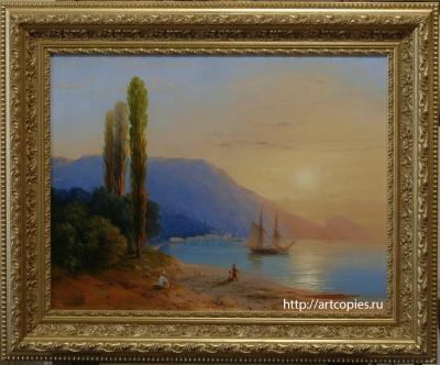 6-этап копии картины И.К.Айвазовского «Восход над Ялтой»