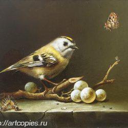 """Гареев М.М. """"Натюрморт, птица на ветке"""" холст. масло. 24х30см Купить картину маслом"""