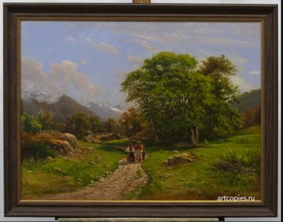 "Копия картины ""Швейцарский пейзаж"" Шишкин И.И."