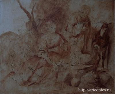 2- этап Мурильо, Бартоломео Эстебан - Отдых святого семейства на пути в Египет Копии картин известных художников