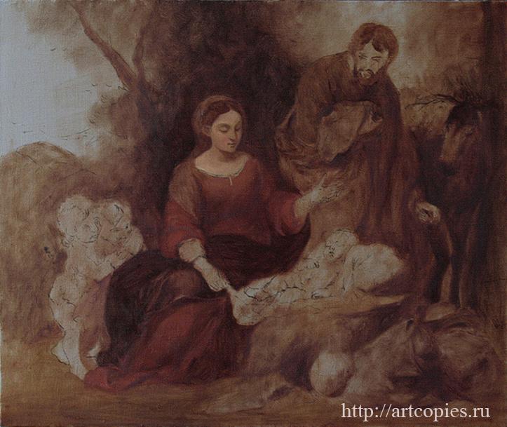 3-этап Мурильо, Бартоломео Эстебан - Отдых святого семейства на пути в Египет Копии картин известных художников