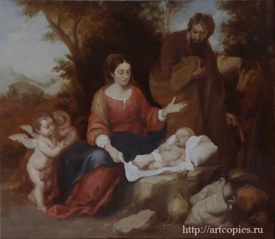 5 этап Мурильо, Бартоломео Эстебан - Отдых святого семейства на пути в Египет Копии картин известных художников