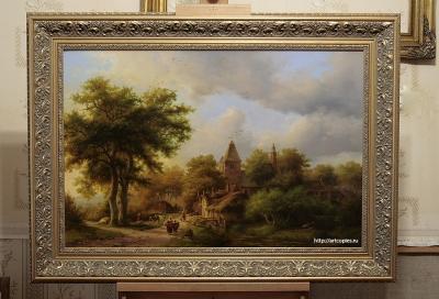 """Копия картины Koekkoek, Barend Cornelis """"Пейзаж с сельской дорогой"""" в интерьере мастерской"""