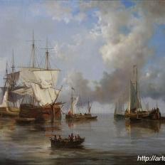 Парусники и рыбацкие лодки. Морской пейзаж.