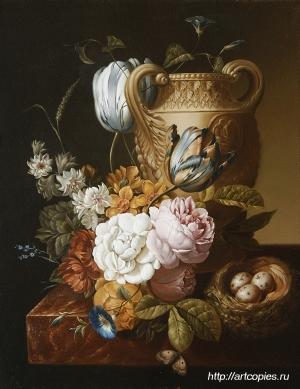 """Гареев М.М. """"Натюрморт с вазой и цветами"""" холст, масло 30х40см Картины современных художников маслом"""
