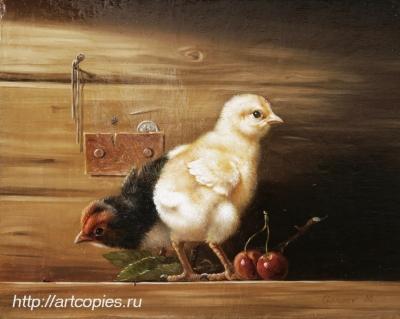 """Гареев М.М. """"Натюрморт с птенцами"""" холст, масло 18х24см живопись маслом картины современных художников"""
