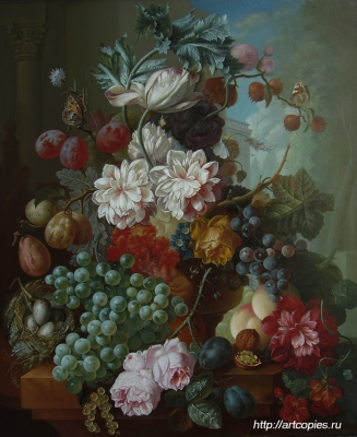 Цветочный натюрморт и фрукты. Гареев М.М. Купить картину в интернете.