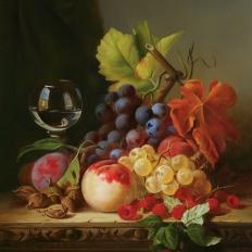 """Шумайлов Д.А. """"Натюрморт с малиной и виноградом"""" Купить картину на стену."""