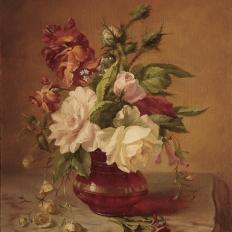 """Купить копию картины """"Цветы в вазе на мраморном столе"""" Симон Сен-Жан"""