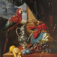 """Купить копию картины маслом на холсте """"Натюромрт с попугаем, омаром и фруктами"""" Ян Давидс де Хем"""""""