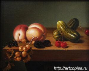 Натюрморт с персиками, ягодами и огурцами. Гареев М.М.