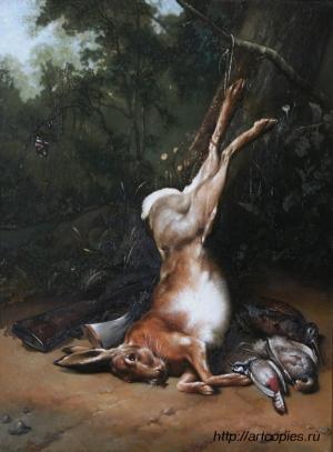 Охотничья сцена с битым зайцем. Гареев М.М.