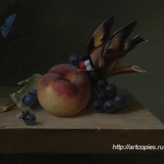 Натюрморт с персиком и птицей. Гареев М.М.