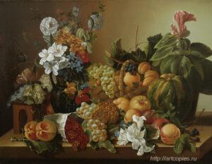 Натюрморт с фруктами, цветами и тыквой. Гареев М.М.