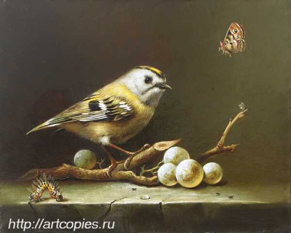 Гареев М.М. Натюрморт, птица на ветке.