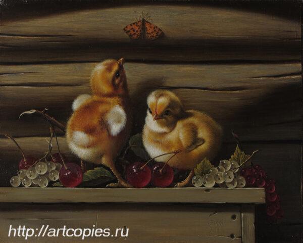 Гареев М.М. Натюрморт с птенцами, вишней, смородиной.