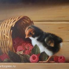 Гареев М.М. Натюрморт с птенцом, малиной.