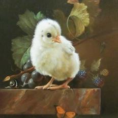 Гареев М.М. Натюрморт с птенцом, виноградом, ежевикой.