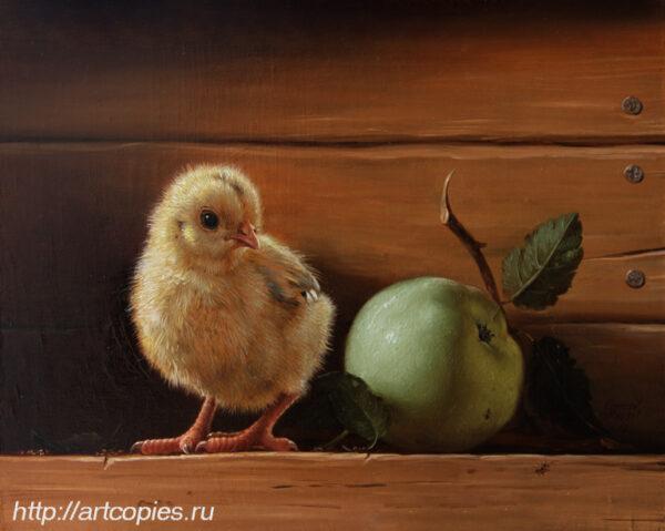 Гареев М.М. Натюрморт с цыплёнком и яблоком.