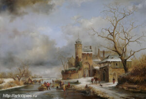 Пейзаж с крепостью. Зимний Голландский пейзаж. Шумайлов Д.А.