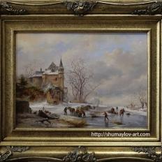 Пейзаж с крепостью у замёрзшей реки. Зимний Голландский пейзаж. Шумайлов Д.А.