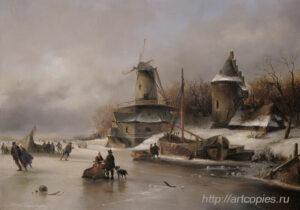 Пейзаж с мельницей. Зимний Голландский пейзаж. Шумайлов Д.А.