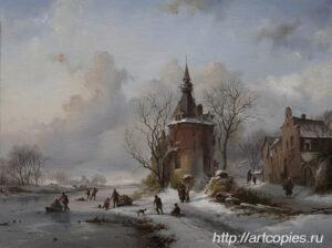 Пейзаж с замёрзшей рекой. Зимний Голландский пейзаж. Шумайлов Д.А.