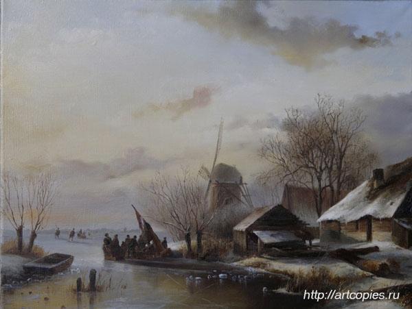 Деревня зимой. Зимний Голландский пейзаж. Шумайлов Д.А.